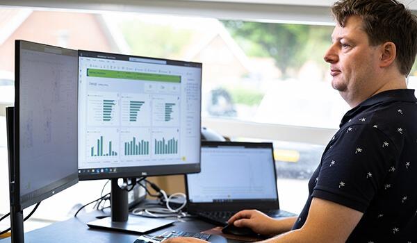Vi kan tilbyde dataanalyse og visualisering i Microsoft Power BI